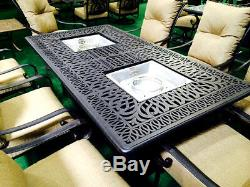 Propane fire pit dining table set 9 piece outoor cast aluminum patio furniture