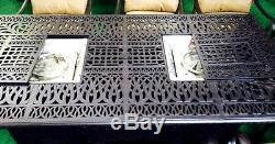 Propane fire pit dining table set 9 piece outoor cast aluminum patio furniture