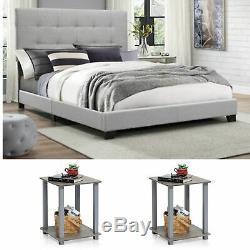 Queen Size Bedroom Set Grey Modern Furniture Bed Headboard Wood Fabric 3 Piece