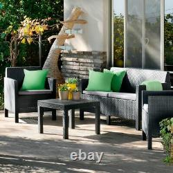 Rattan Garden Keter Furniture Set 4 Piece Chairs Sofa Table Outdoor Conservatory