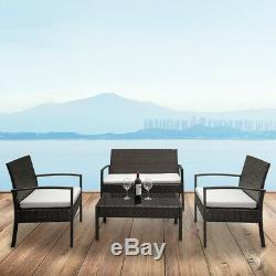 Rattan Wicker Sofa Set 4 Piece Sectional Couch Cushioned Furniture Patio Outdoor