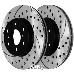 Rear Drilled Slotted Rotors and Ceramic Pads for 2007-2013 Sierra Silverado 1500