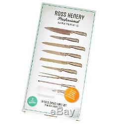 Ross Henery Professional 9 Piece chefs Knife Set / Kitchen Knives in Case