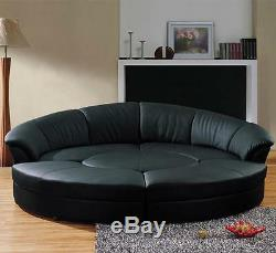 Round 5 Piece Living Room Sectional Couch Set with round table Black Leather
