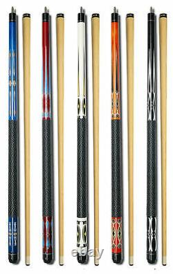 SET OF 5 POOL CUES New Two-Piece Billiard House Pool Cue Stick GJ15 FREE SHIP