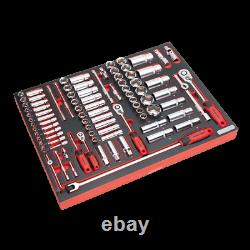 Sealey TBTP02 91 Piece Socket Set 1/4, 3/8 & 1/2 Square Drives in Foam To