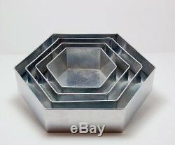 Set Of 4-piece Hexagon Shape Cake Baking Pans By Euro Tins 6 8 10 12