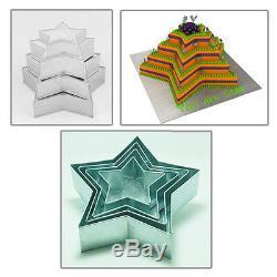 Set Of 4-piece Star Shape Cake Baking Pans By Euro Tins 6 8 10 12 (3 Deep)