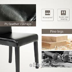 Set of 4 Pieces Leather Dining Chairs Home Kitchen Dining Room Furniture Black