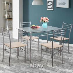 Silver 5 Piece Dining Table Set Glass and 4 Chairs Kitchen Breakfast Furniture