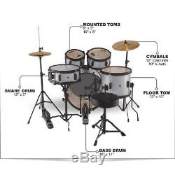 Sound Percussion Labs Kicker Pro 5 Piece Drum Set withStands Cymbals Thrne Silver