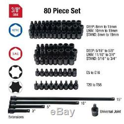 Sunex 80-Piece Impact Socket Set 3/8 In Drive Master SAE Metric with Case
