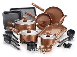 T-fal Copper Ceramic Nonstick Cookware Bakeware Pots and Pans Set, 20 Piece