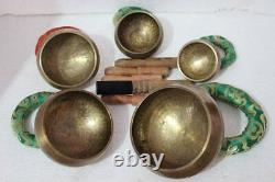Tibetan Chakra Singing Bowl set of 5 piec, Hand hammered 3 to 5.5 made in Nepal