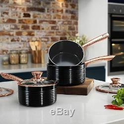 Tower Linear Saucepan Set, Non-Stick Ceramic Aluminium, Black/Rose Gold, 3 Piece