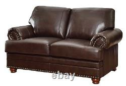 Traditional Living Room 3-Piece Sofa Loveseat & Chair Couch Set Faux Leather