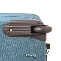 Transworld 5-piece Expandable Wheeled Upright Luggage Set Teal