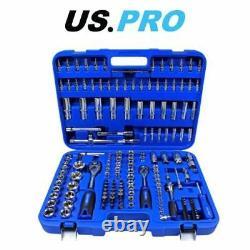 US PRO 172 Piece Metric 1/4 3/8 1/2 Drive Superlock Socket Set 2082