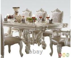 Versailles 9 Piece Formal Luxury Dining Room Set 120 Table 8 Chairs Bone White