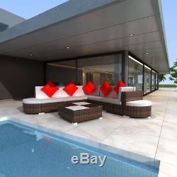 VidaXL Outdoor Lounge Set 27 Piece Wicker Poly Rattan Brown Garden Patio Sofa
