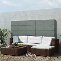 Vidaxl Outdoor Sofa Set 14 Piece Wicker Poly Rattan Brown Garden