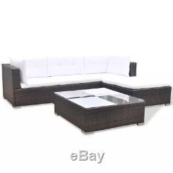 VidaXL Outdoor Sofa Set 14 Piece Wicker Poly Rattan Brown Garden Patio lounge