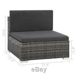 VidaXL Outdoor Sofa Set 16 Piece Poly Rattan Wicker Gray Patio Couch Lounge