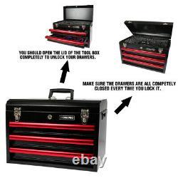 WORKPRO 408 Piece Mechanics Tool Set with3-Drawer Metal Case Socket Wrench Set USA