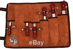 WP-1071 Custom Handmade Damascus Kitchen/Chef Knife Set 6/Piece/Leather Roll Bag