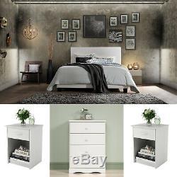 White Bedroom Set Queen Size 4 Piece Furniture Modern Dresser Bed 2 Nightstands
