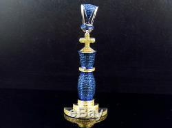 White Gold Finish Blue Canary Diamond Pave Set King Pin Chess Piece Charm 1.50Ct
