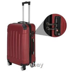 Wine Red 3 Pieces Travel Luggage Set Bag ABS Trolley Carry On Suitcase TSA Lock